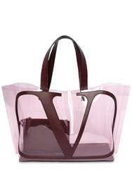 Valentino Garavani Vlogo Polymeric And Leather Tote Bag Pink