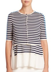 Akris Punto Striped Cropped Cardigan Cream Deep Blue