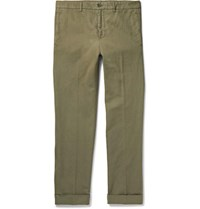 Aspesi Slim Fit Garment Dyed Cotton And Linen Blend Twill Chinos Green