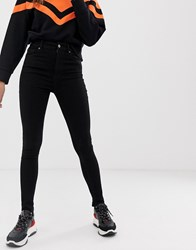 Pull And Bear Pullandbear High Rise Skinny Jeans In Black