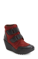 Fly London Women's 'Yugo' Wedge Bootie Black Wine Suede