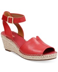 Clarks Artisan Women's Petrina Selma Espadrille Wedge Sandals Women's Shoes Red Leather