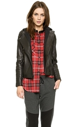 Vince Removable Hooded Moto Jacket Black Heather Charcoal