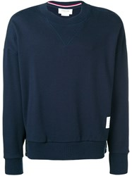 Thom Browne Oversized Loopback Sweatshirt Blue