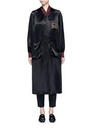 Ms Min Dragon Embroidered Hooded Long Satin Coat Black