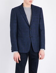 Armani Collezioni Slim Fit Checked Wool Blend Jacket Blue