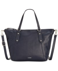 Giani Bernini Pebble Leather Zip Satchel Only At Macy's Navy