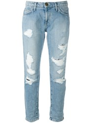 Current Elliott Cropped Distressed Jeans Blue