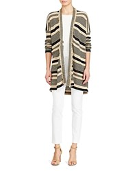 Ralph Lauren Fringe Trim Stripe Cardigan Tan Polo Black
