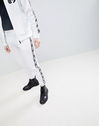 Money Stripe Tricot Track Pant In White With Contrast Side Stripe