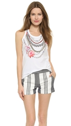 Tory Burch Racer Back Tank African Wildflower Tee