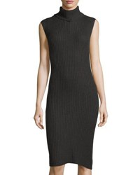 Max Studio Ribbed Sleeveless Turtleneck Dress Black