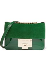 Jimmy Choo Rebel Soft Mini Patent Leather And Suede Shoulder Bag Green