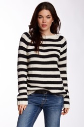 Trovata Striped Crew Neck Sweater Black