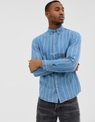 Burton Menswear Denim Shirt In Blue Wash Black