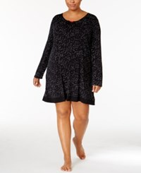 Ellen Tracy Plus Size Printed Sleepshirt Black Ivory Dot