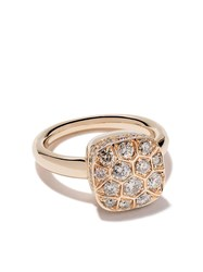 Pomellato 18Kt Rose And White Gold Nudo Diamond Ring Ab704go6br Brown