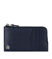 Dunhill Cadogan Leather Zipped Card Holder Unisex Navy