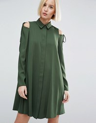Asos Cold Shoulder Shirt Dress With Tie Detail Khaki Green
