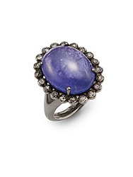 Bavna Tanzanite Champagne Diamond And Sterling Silver Ring Purple