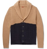 Barena Shawl Collar Two Tone Waffle And Cable Knit Cardigan Navy