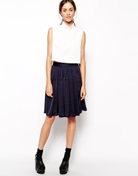 The Laden Showroom X Even Vintage High Waist Full Midi Skirt Navy