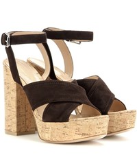 Gianvito Rossi Mytheresa.Com Exclusive Suzie Suede Platform Sandals Brown