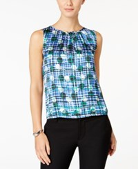 Nine West Printed Pleat Neck Top Emerald Blue