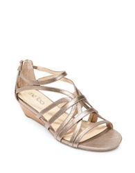 Me Too Sofie Leather Wedge Sandals Gold