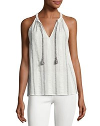 Soft Joie Amalle Striped Embroidered Sleeveless Top White White Pattern