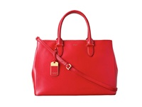 Lauren Ralph Lauren Newbury Double Zip Satchel Red Satchel Handbags