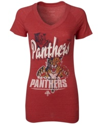 Reebok Women's Short Sleeve Florida Panthers V Neck T Shirt Red