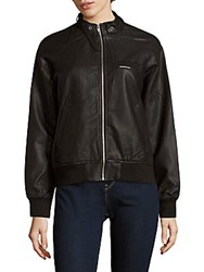 Members Only Perforated Faux Leather Moto Jacket Black