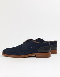 Hudson H By Anterim Derby Shoes In Navy Suede