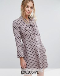 Closet London Polka Dot Dress With Pussybow And Fluted Sleeve Multi