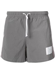 Thom Browne Classic Swim Trunk With Red Grey