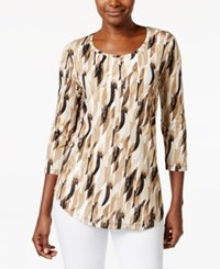 Jm Collection Three Quarter Sleeve Tee Shatter Print Brown