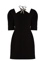 Marni Crystal Bow Bonded Crepe Dress Black