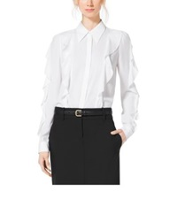 Michael Kors Ruffled Silk Georgette Blouse White