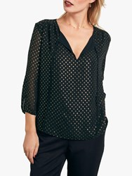Hush Aida Foil Print Top Metallic Spot