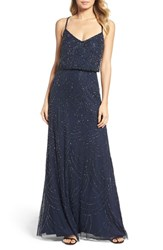 Adrianna Papell Women's Beaded Chiffon Blouson Gown Navy
