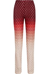 Missoni Ombre Crochet Knit Straight Leg Pants Red