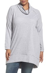 Caslonr Plus Size Women's Caslon Cowl Neck French Terry Tunic Heather Light Grey