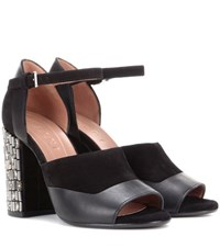 Marni Leather And Suede Sandals Black