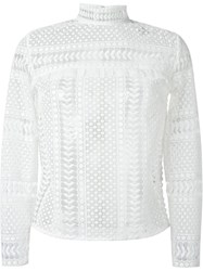 Self Portrait Crochet Lace Longsleeved Blouse White