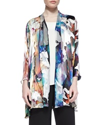 Caroline Rose Hand Painted Silk Blend Devore Cardigan Women's