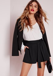 Missguided Tie Waist Detail Crepe Tailored Shorts Black Black