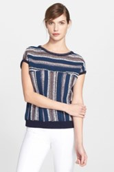 Tory Burch Stripe Short Sleeve Cotton And Linen Sweater Blue