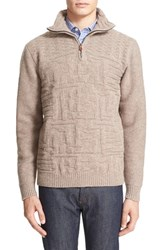 Inis Meain Men's Stonewall Mock Neck Basketweave Sweater
