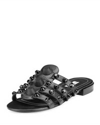 Balenciaga Studded Caged Flat Slide Sandal Black